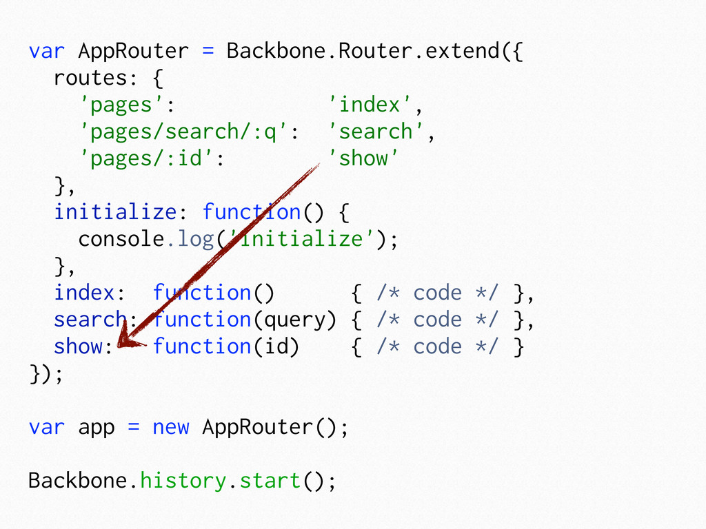 var AppRouter = Backbone.Router.extend({ routes...