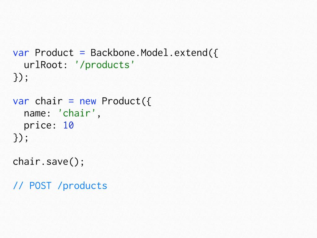 var Product = Backbone.Model.extend({ urlRoot: ...