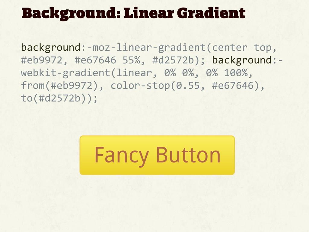 Background: Linear Gradient background:-‐moz-...