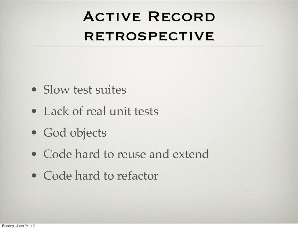 Active Record retrospective • Slow test suites ...