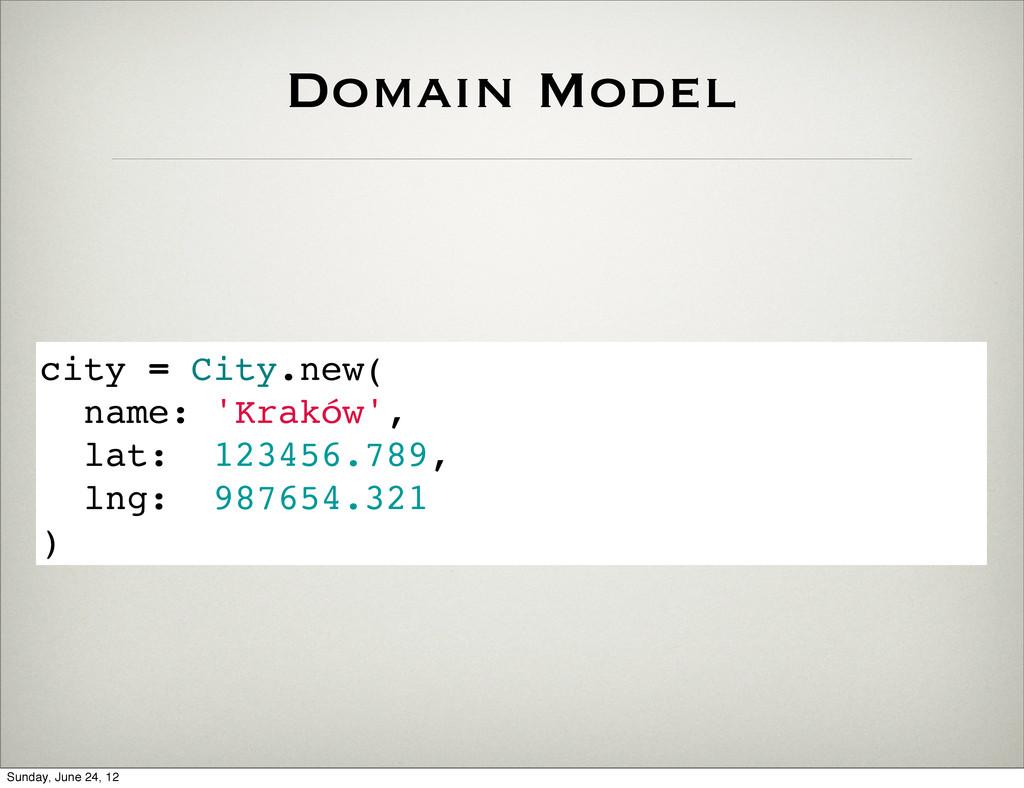 Domain Model city = City.new( name: 'Kraków', l...