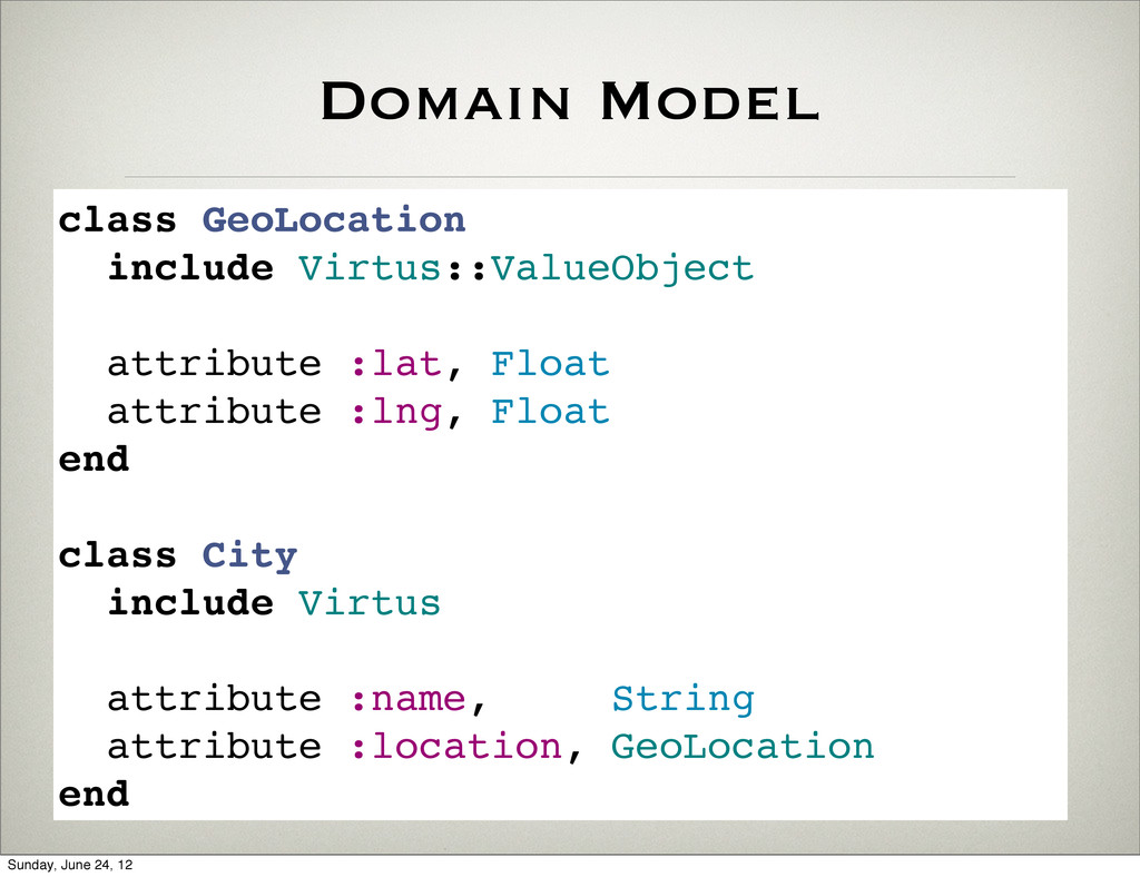 Domain Model class GeoLocation include Virtus::...