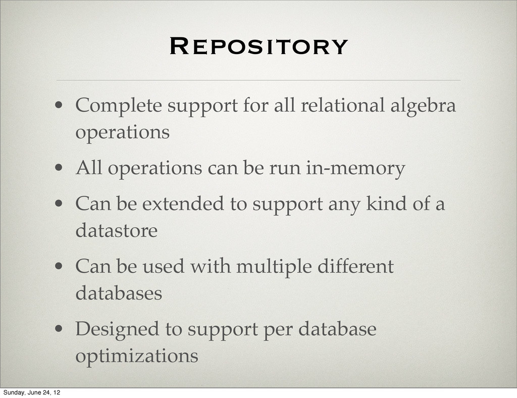 Repository • Complete support for all relationa...