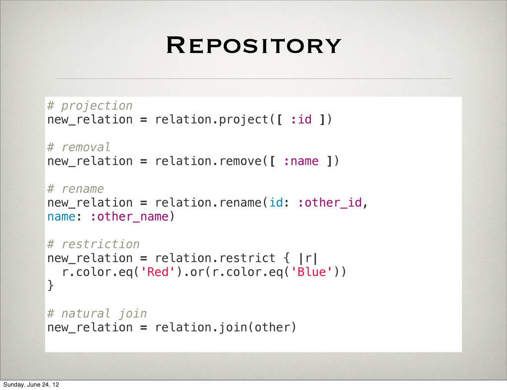 Repository # projection new_relation = relation...