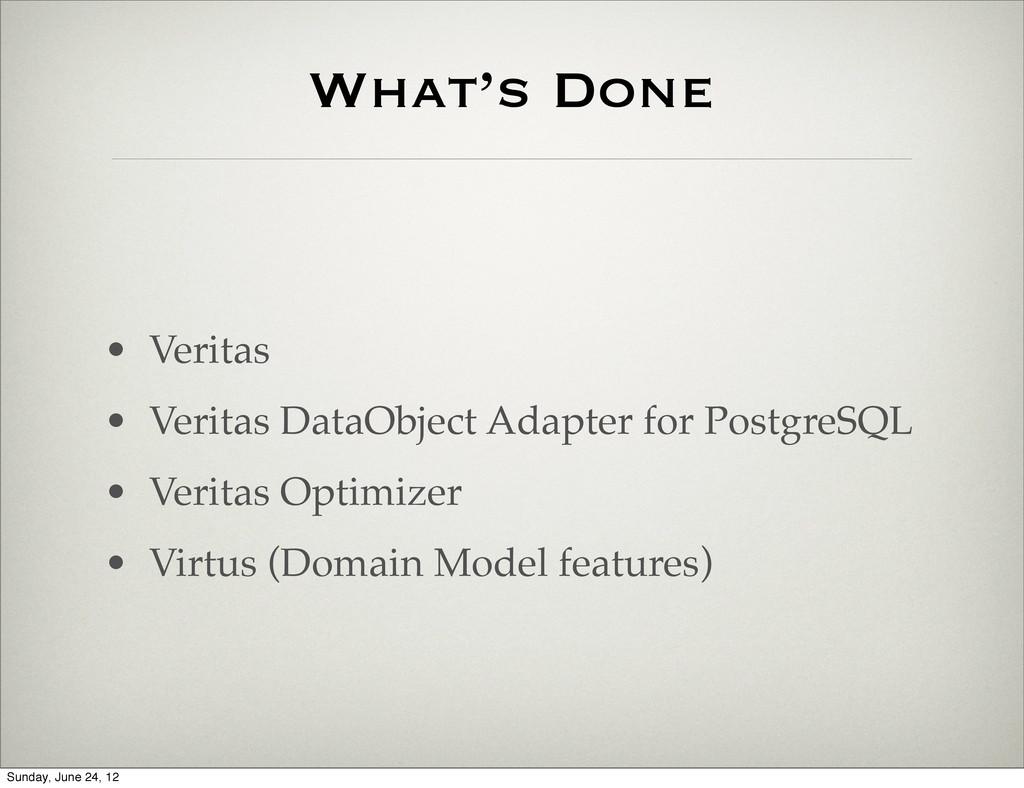 What's Done • Veritas • Veritas DataObject Adap...