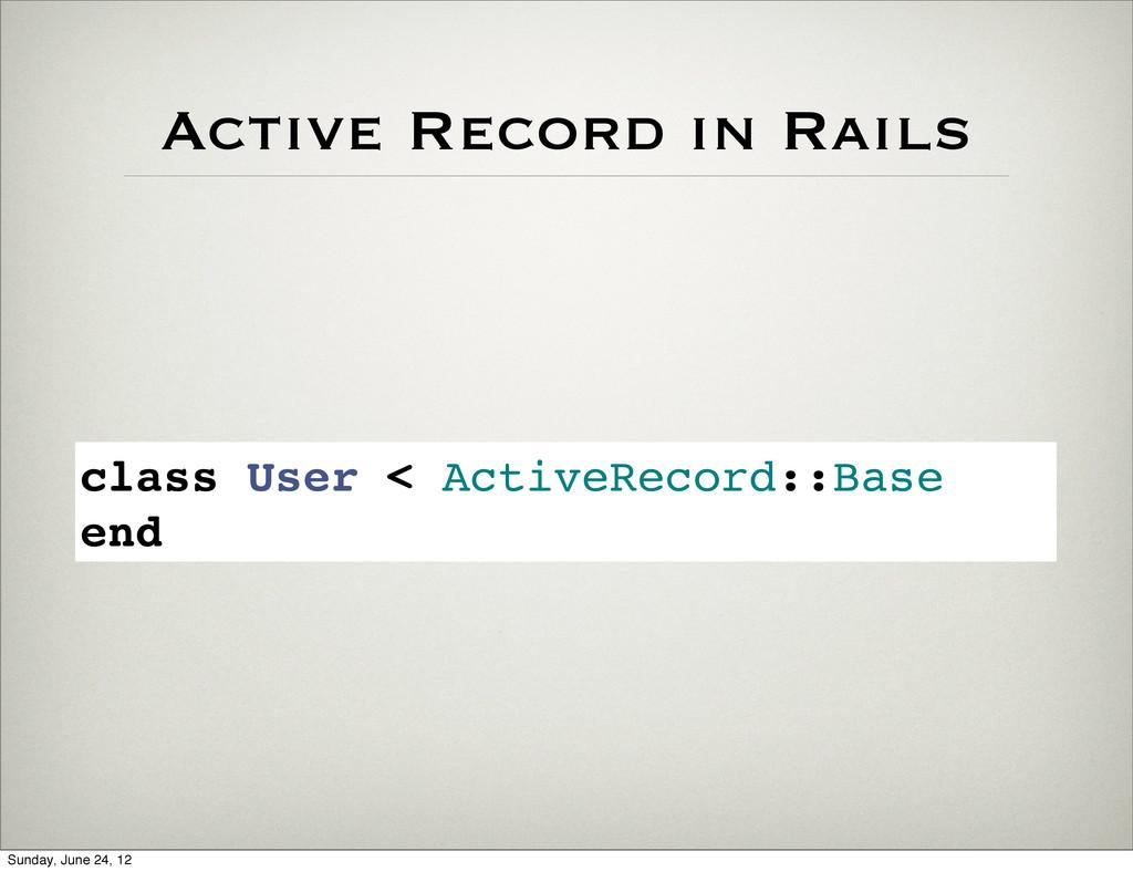 class User < ActiveRecord::Base end Active Reco...