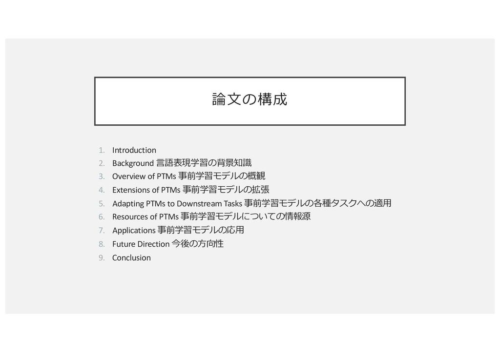 論⽂の構成 1. Introduction 2. Background ⾔語表現学習の背景知識...
