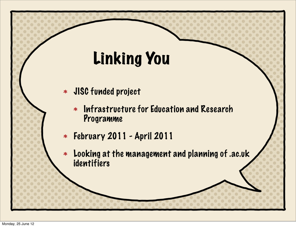Linking You JISC funded project Infrastructure ...