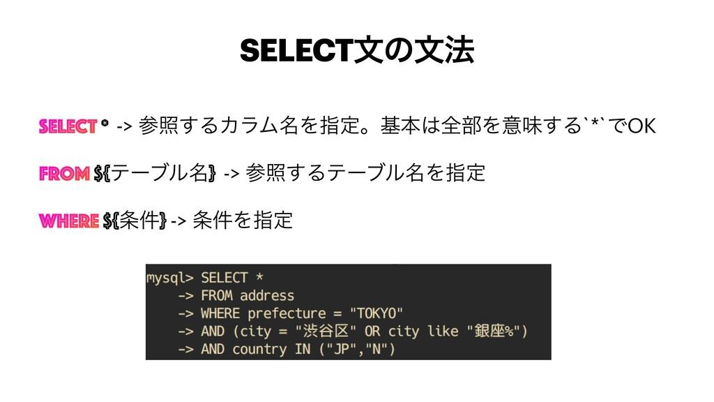 SELECTจͷจ๏ SELECT * -> র͢ΔΧϥϜ໊Λࢦఆɻجຊશ෦Λҙຯ͢Δ`*...