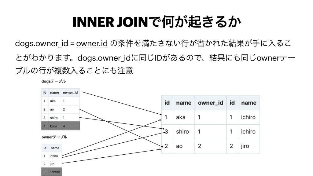 INNER JOINͰԿ͕ى͖Δ͔ dogs.owner_id = owner.id ͷ݅Λ...