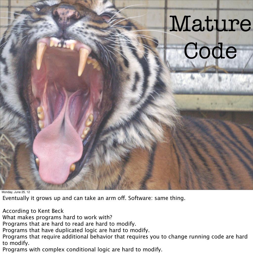 Mature Code Monday, June 25, 12 Eventually it g...