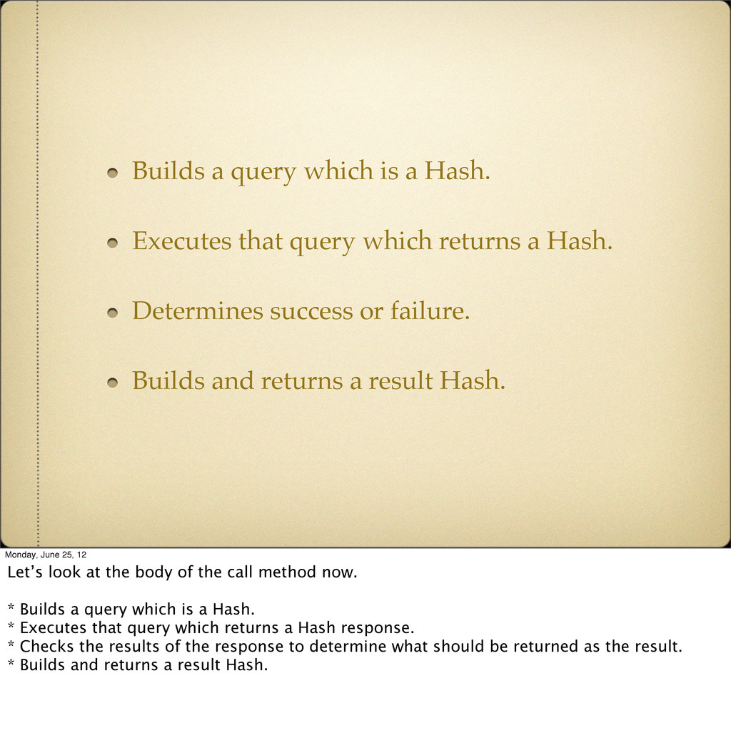 Builds a query which is a Hash. Executes that q...