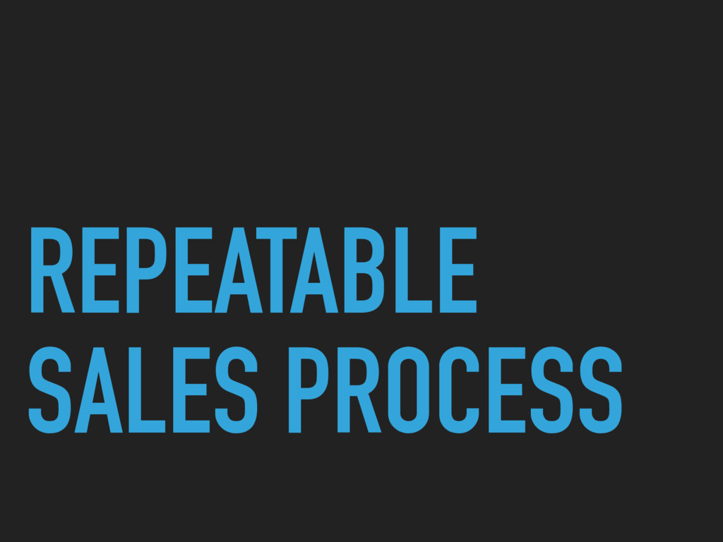 REPEATABLE SALES PROCESS