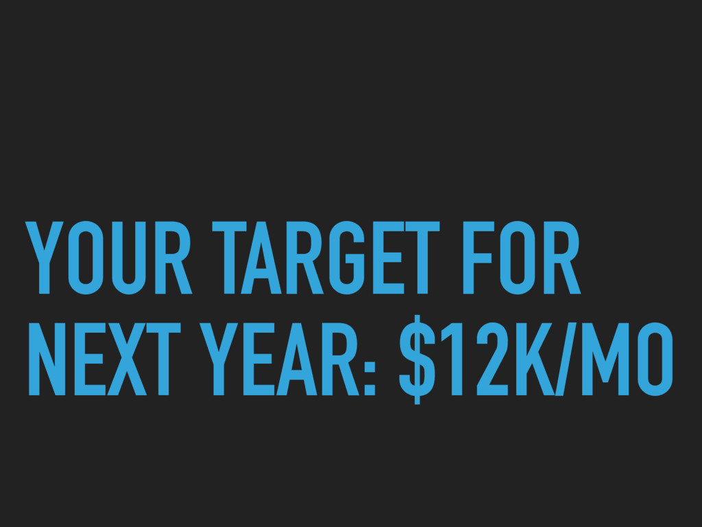 YOUR TARGET FOR NEXT YEAR: $12K/MO