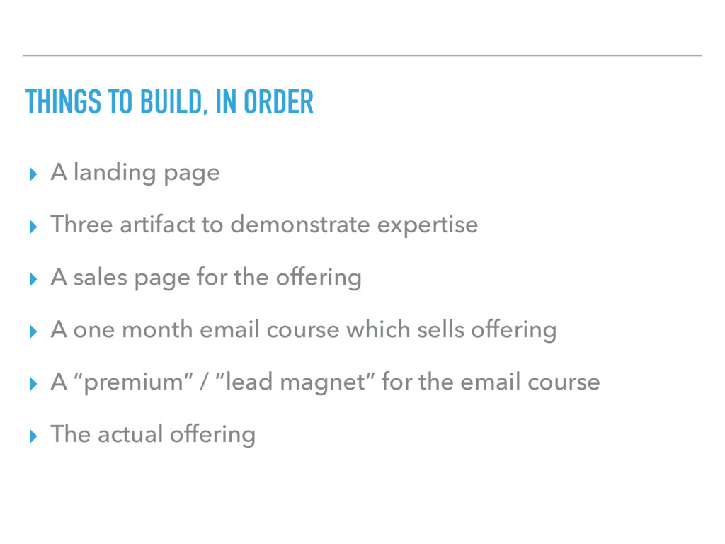 THINGS TO BUILD, IN ORDER ▸ A landing page ▸ Th...