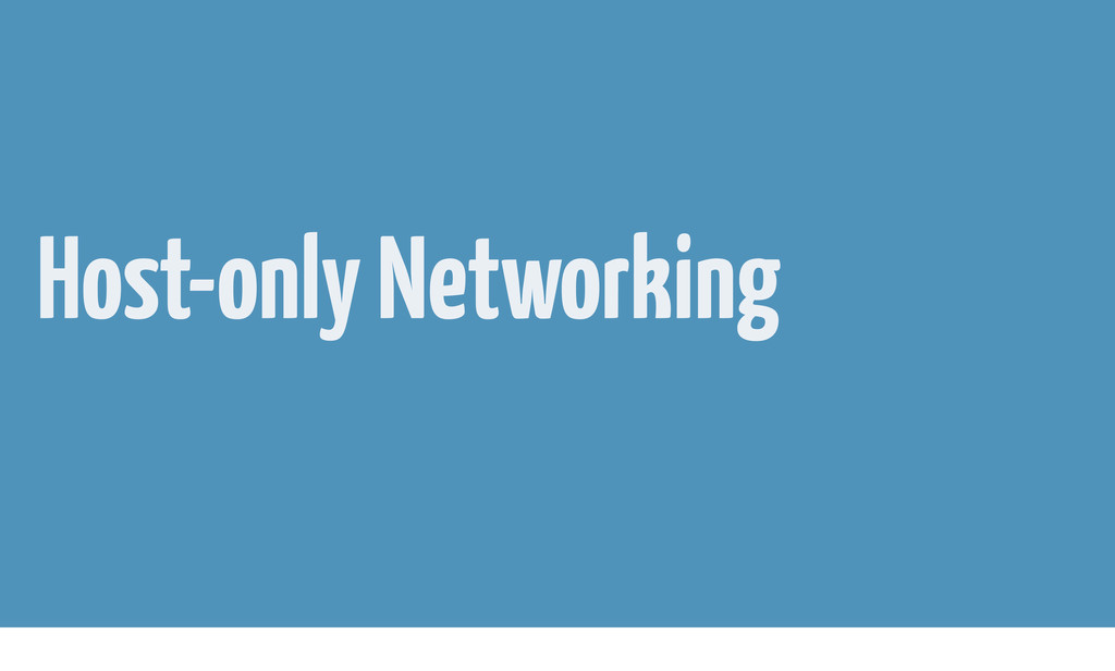 Host-only Networking