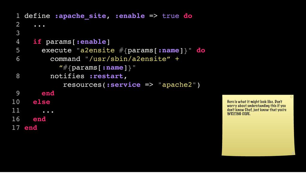 1 define :apache_site, :enable => true do 2 ......