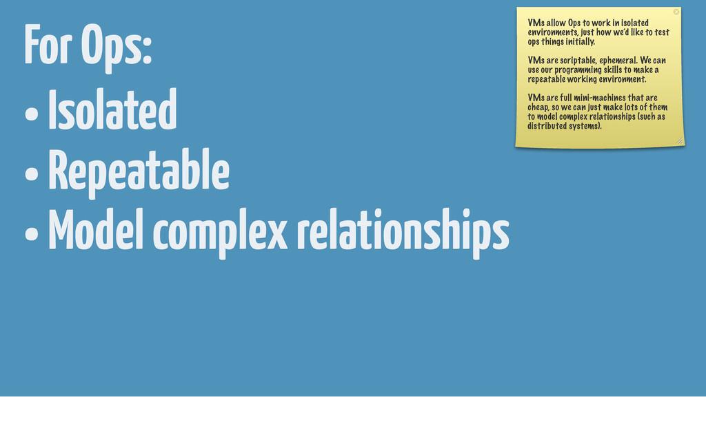 • Isolated • Repeatable • Model complex relatio...