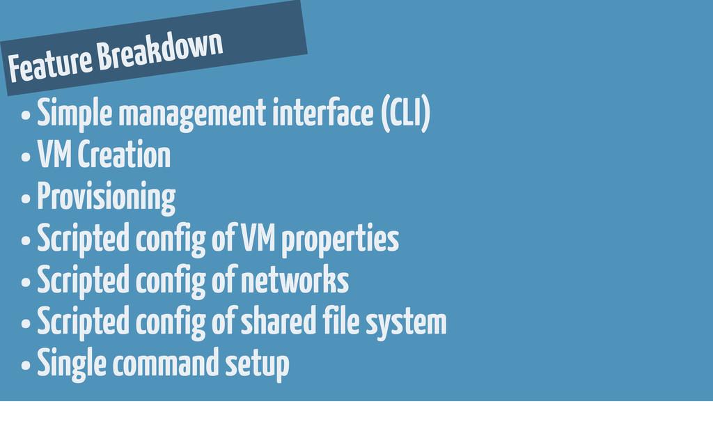 Feature Breakdown • Simple management interface...