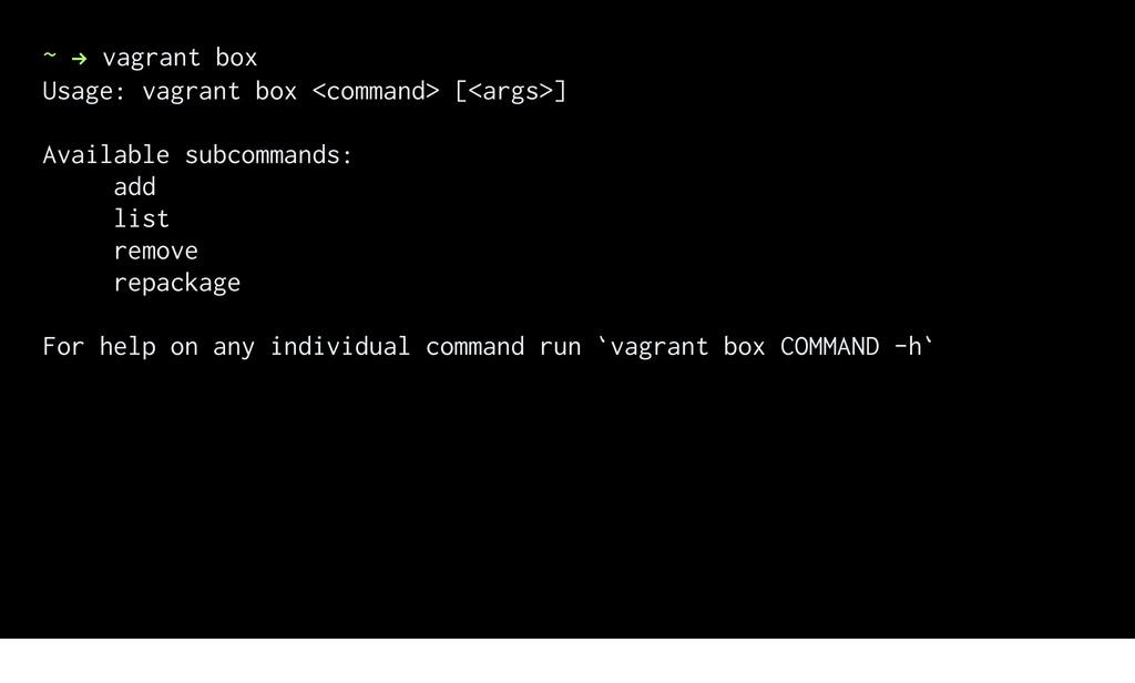 ~ ! vagrant box Usage: vagrant box <command> [<...