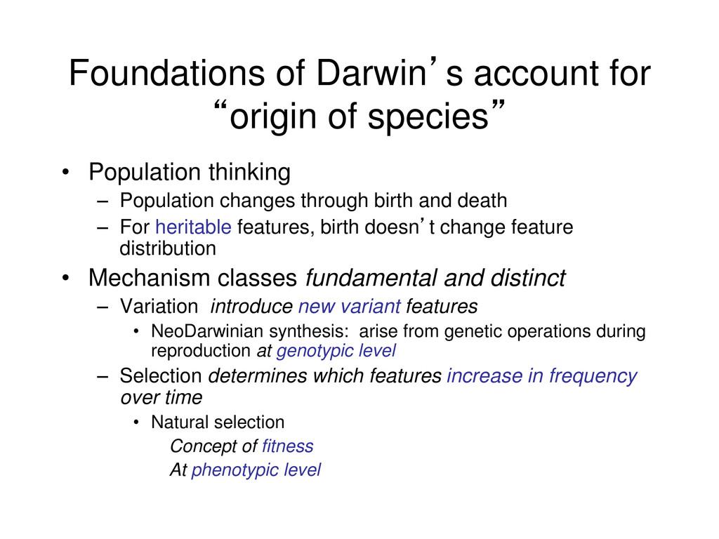 "Foundations of Darwin's account for ""origin of ..."