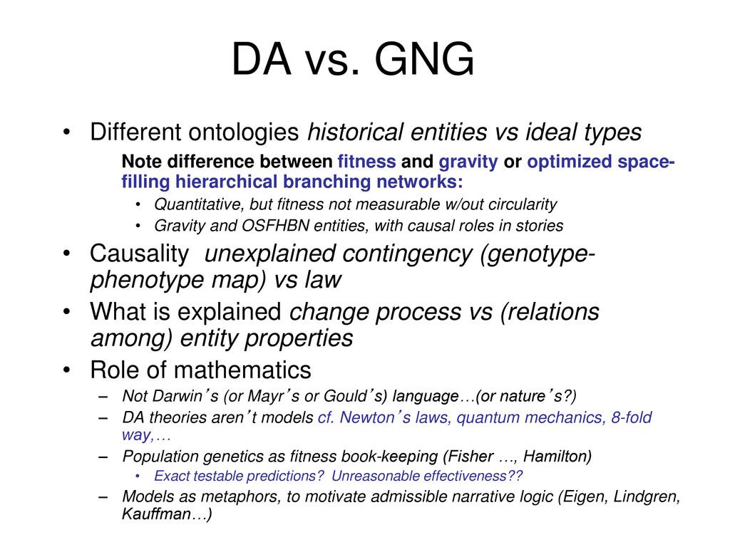 DA vs. GNG • Different ontologies historical en...