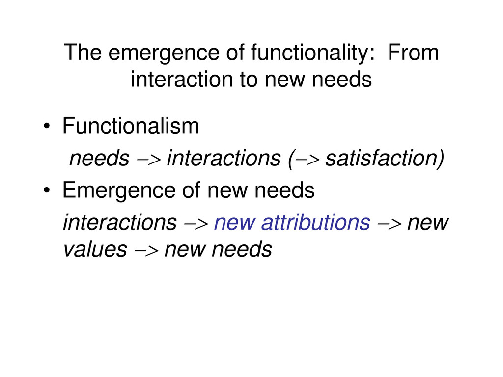 The emergence of functionality: From interactio...