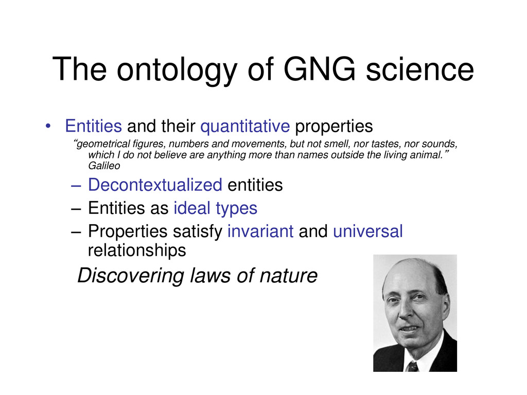 The ontology of GNG science • Entities and thei...