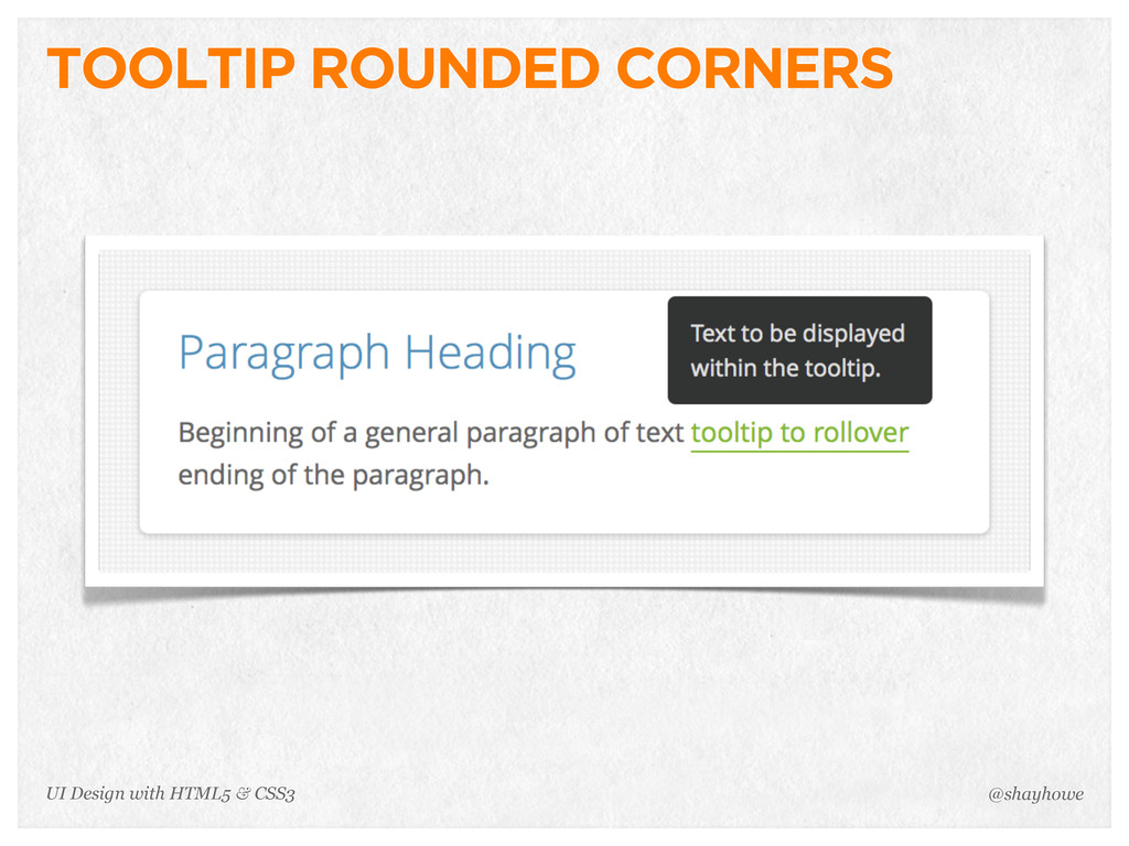 TOOLTIP ROUNDED CORNERS @shayhowe UI Design wit...