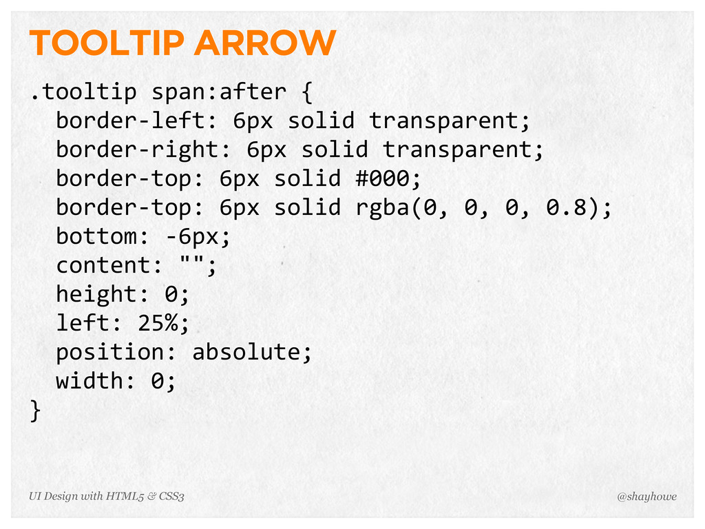 TOOLTIP ARROW .tooltip span:after {   borde...
