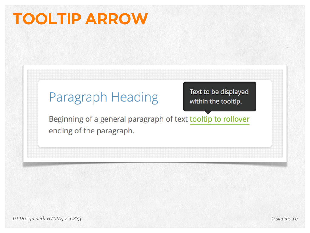TOOLTIP ARROW @shayhowe UI Design with HTML5 & ...