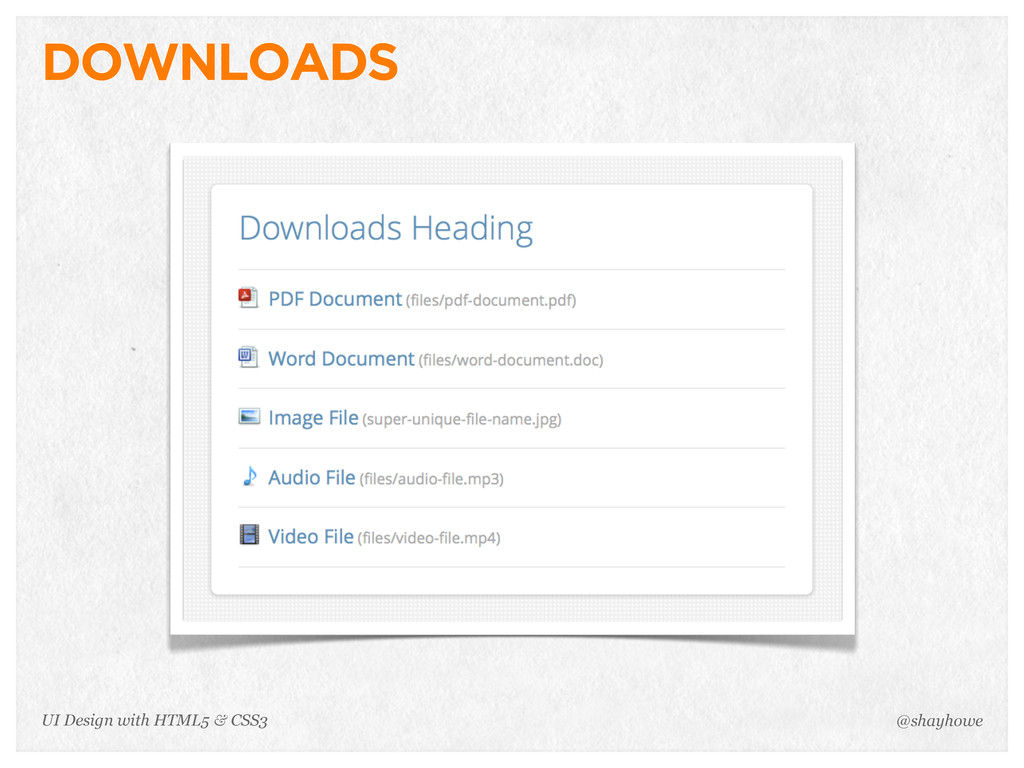 DOWNLOADS @shayhowe UI Design with HTML5 & CSS3