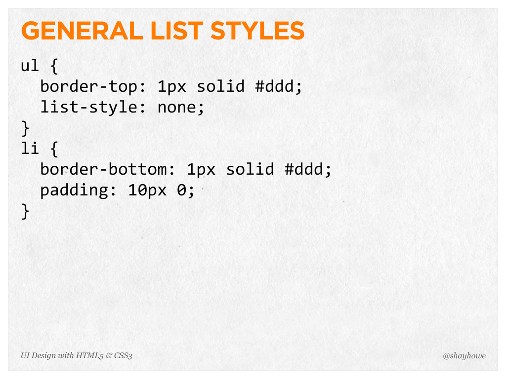 GENERAL LIST STYLES ul {   border-‐top: 1p...
