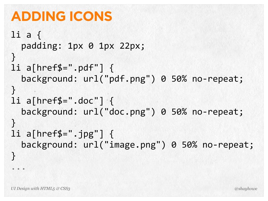 ADDING ICONS li a {   padding: 1px 0 1px...