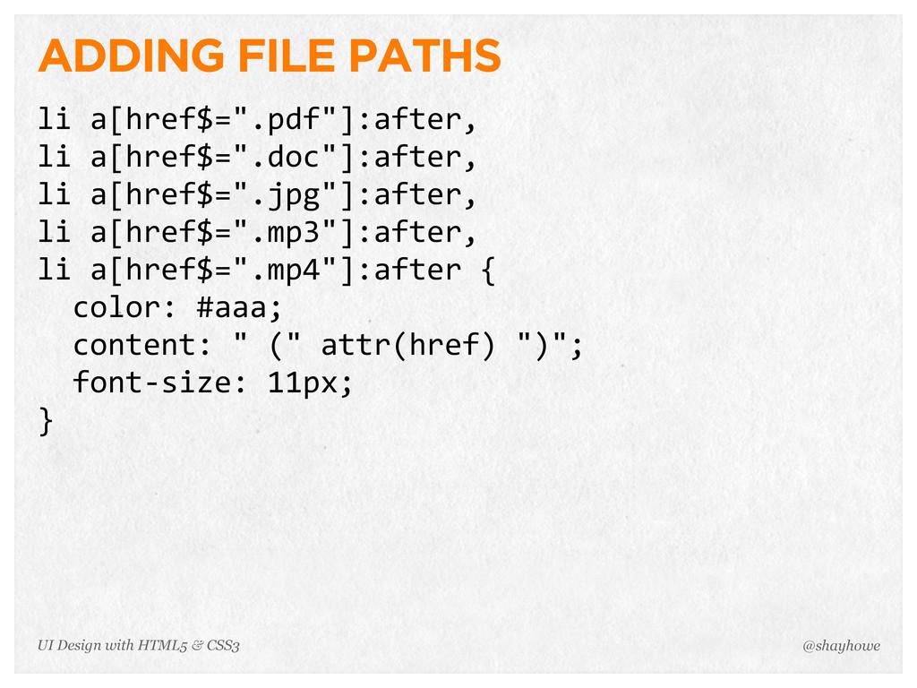 "ADDING FILE PATHS li a[href$="".pdf""]:after, li..."