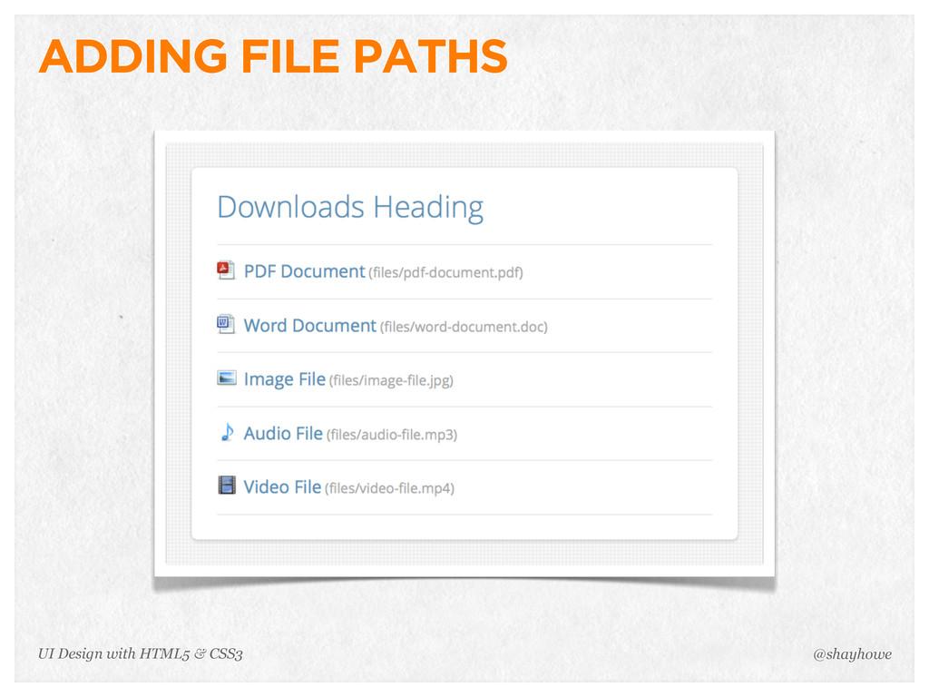 ADDING FILE PATHS @shayhowe UI Design with HTML...