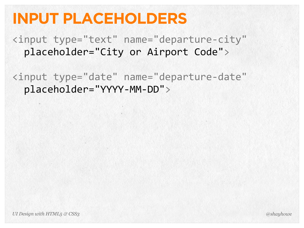 """INPUT PLACEHOLDERS <input type=""""text"""" name=""""d..."""