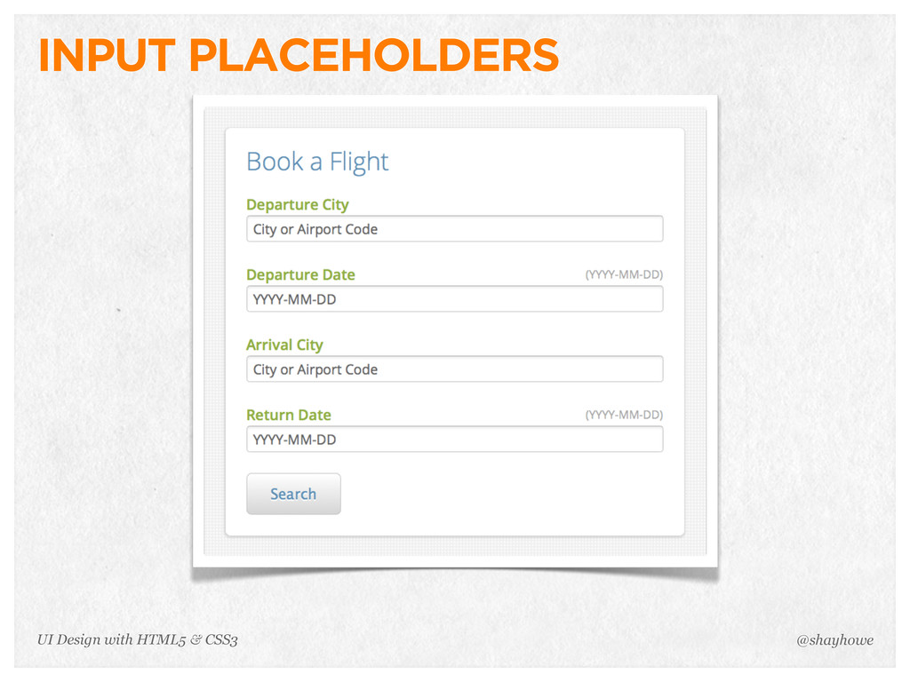 INPUT PLACEHOLDERS @shayhowe UI Design with HTM...