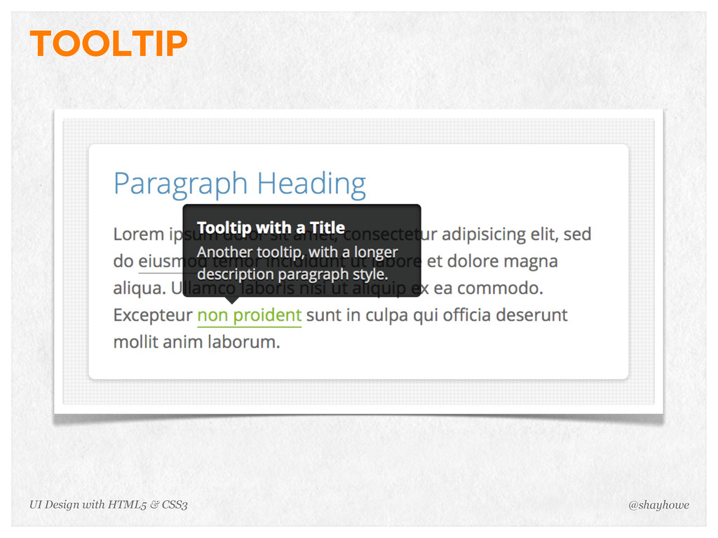 TOOLTIP @shayhowe UI Design with HTML5 & CSS3