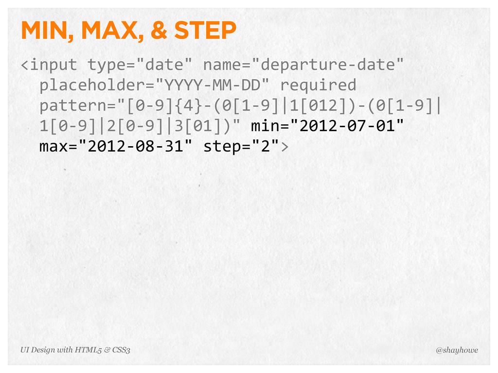 "MIN, MAX, & STEP <input type=""date"" name=""dep..."