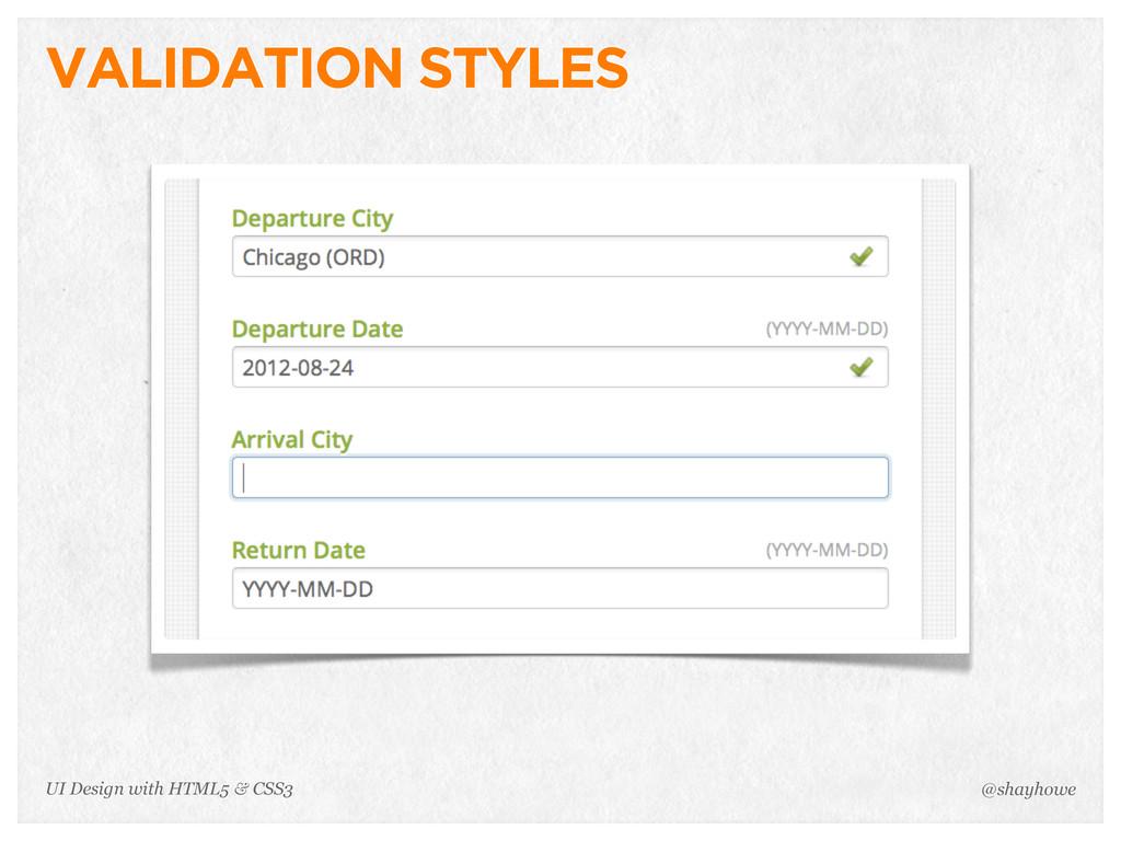VALIDATION STYLES @shayhowe UI Design with HTML...