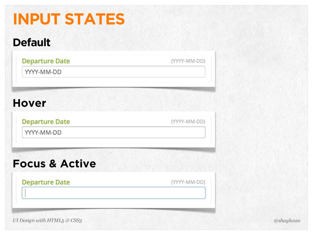 INPUT STATES Default Hover Focus & Active @shay...