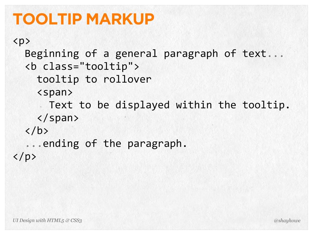 TOOLTIP MARKUP <p>   Beginning of a genera...