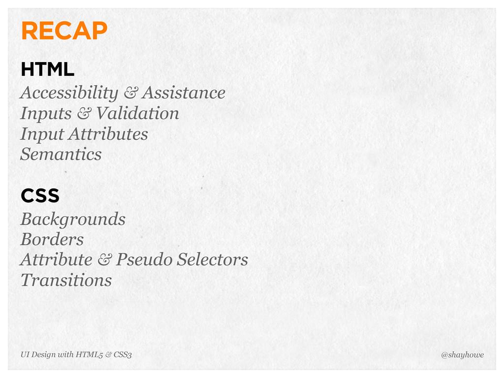 RECAP HTML Accessibility & Assistance Inputs & ...