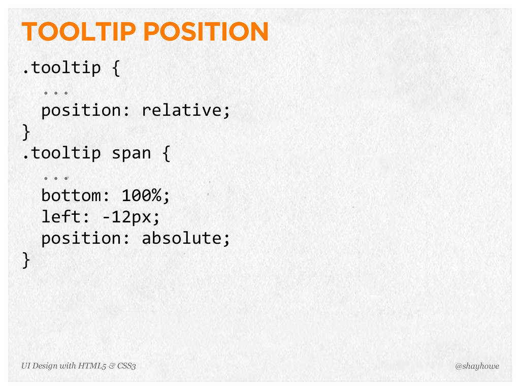 TOOLTIP POSITION .tooltip {   ...   positi...