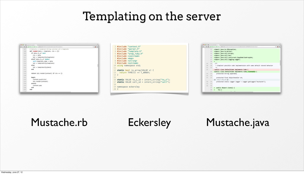 Templating on the server Eckersley Mustache.rb ...