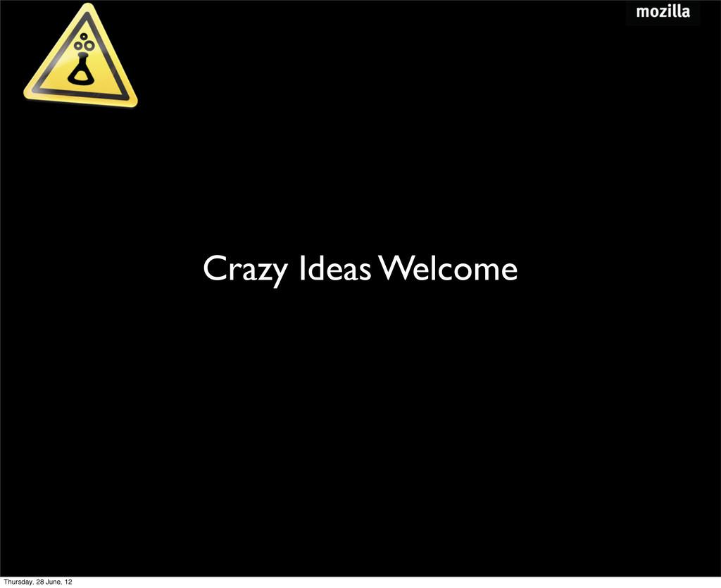 Crazy Ideas Welcome Thursday, 28 June, 12