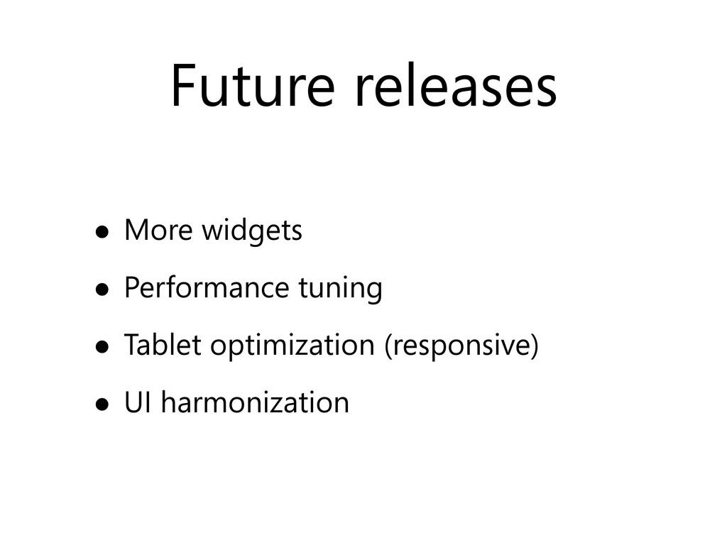 Future releases • More widgets • Performance tu...