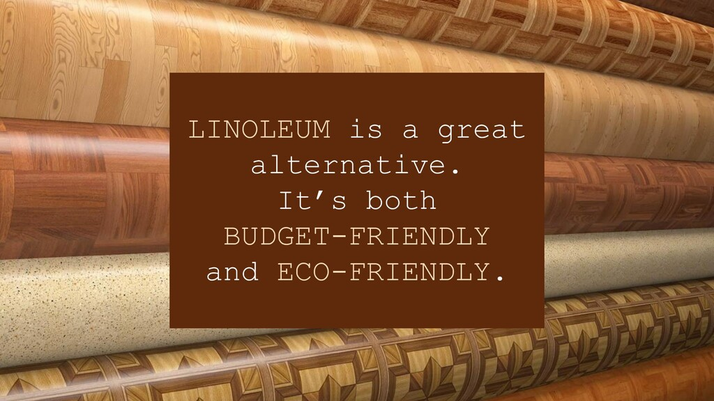 LINOLEUM is a great alternative. It's both BUDG...