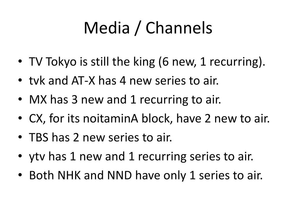 Media / Channels • TV Tokyo is still the king (...